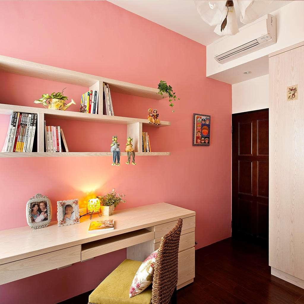 粉色墻漆效果
