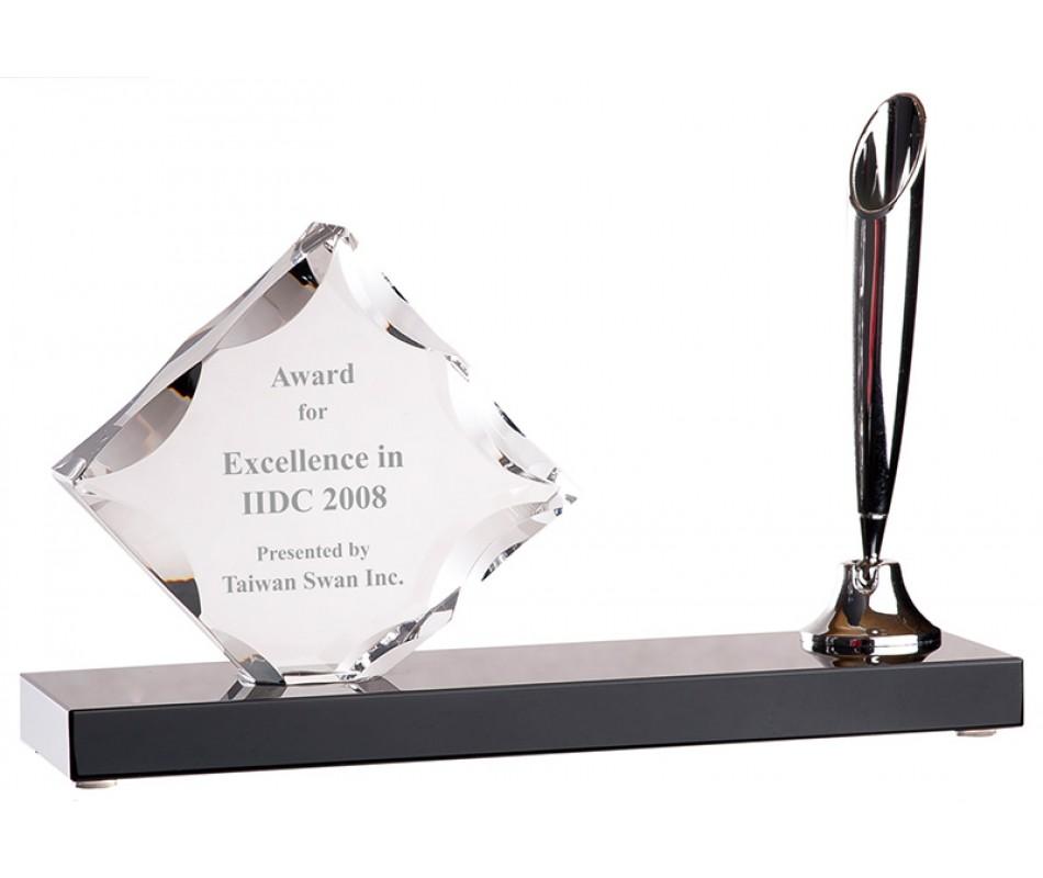 水晶办公用品 定做 设计|水晶收银牌 摆件 笔筒办公用品 彩印-浦江鸿亿水晶礼品有限公司