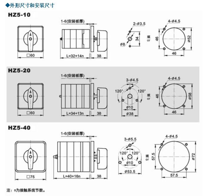 HZ5D-20 HZ5-204 M05 组合开关|HZ5-20系列组合开关-上江电气