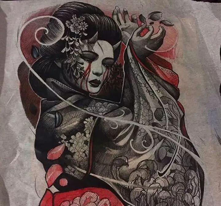 纹身手稿分享——艺伎(二)图片