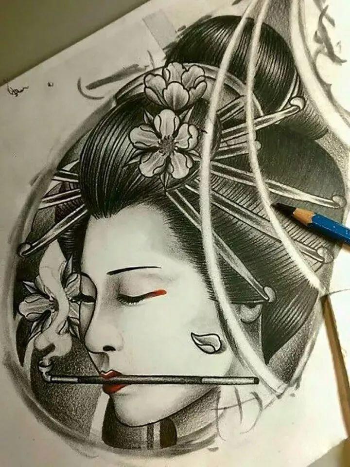 纹身手稿分享——艺伎(二)