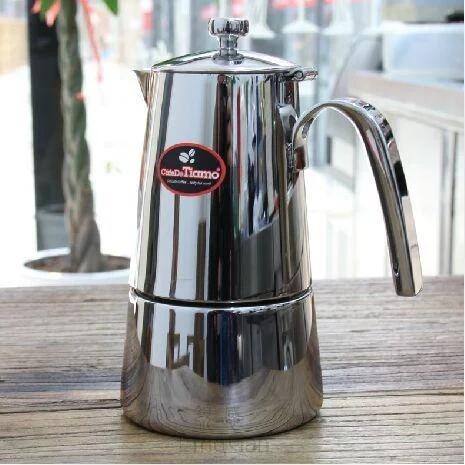 正品Tiamo502不锈钢摩卡壶 意式家用煮咖啡壶4-6人份蒸馏