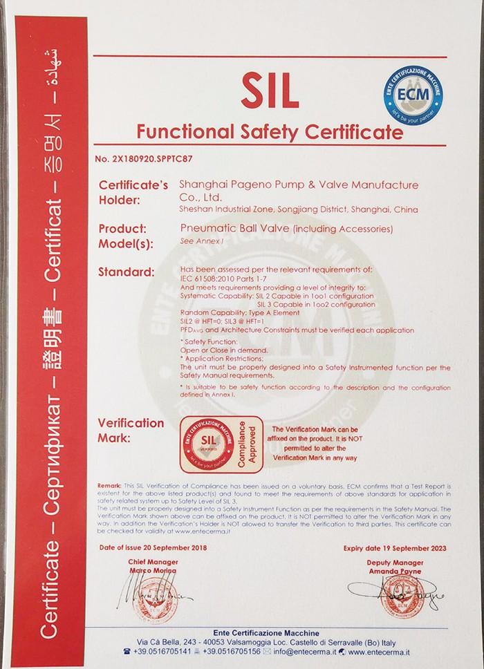 热烈祝贺上海帕基诺泵阀制造有限公司产品通过欧洲SAFETY INTEGRIRT LEVEL 安全功能完整性等级认证。|公司资讯-上海帕基诺泵阀制造有限公司