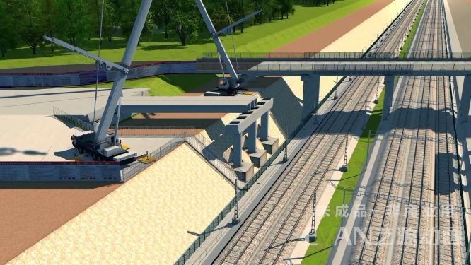 S351上跨沪蓉铁路宁西铁路整体施工三维动画步骤|工业应用-徐州艺源动画制作有限公司