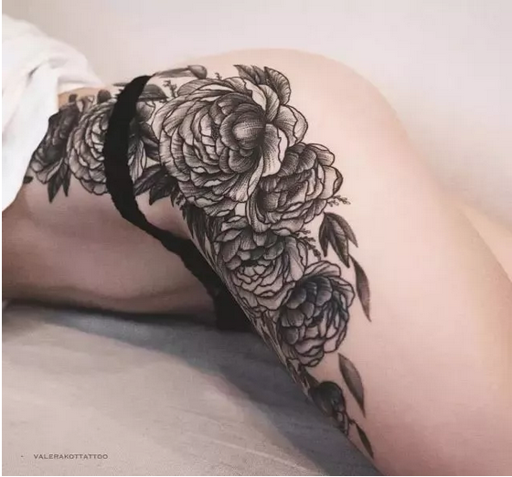 大美胳膊樱花纹身