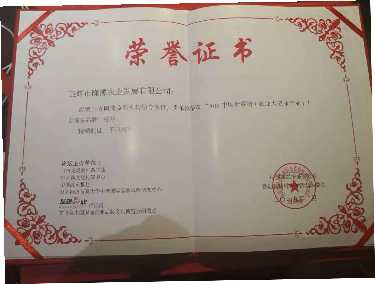 颁发《农业大健康产业中国十大品牌》称号