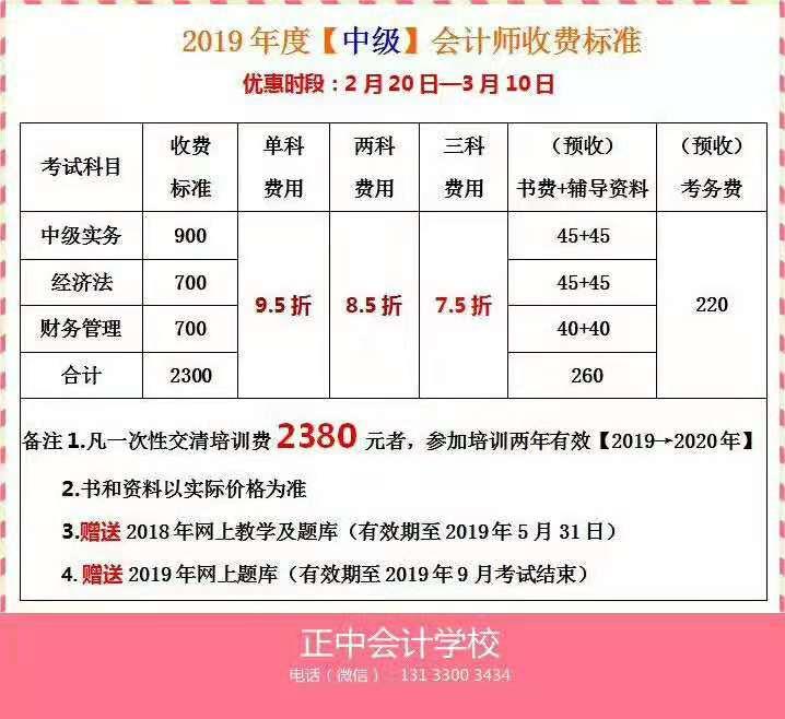 2019年度【中级】注册送68元体验金师收费标准