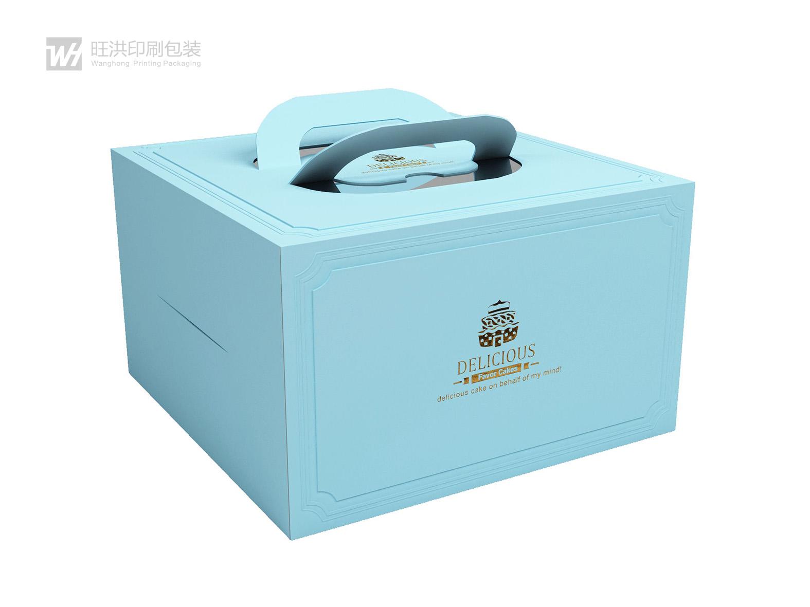 凹凸燙金開孔手提蛋糕盒