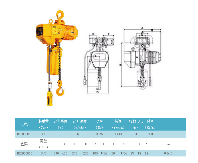 哈尔滨0.5吨挂钩式电动葫芦