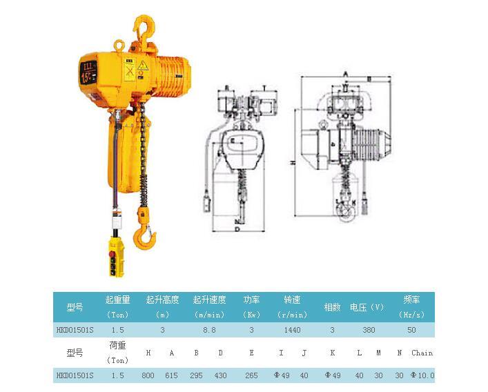 哈尔滨1.5吨挂钩式电动葫芦
