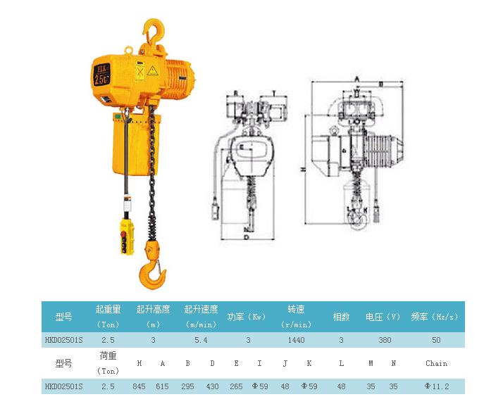 哈尔滨2.5吨挂钩式电动葫芦