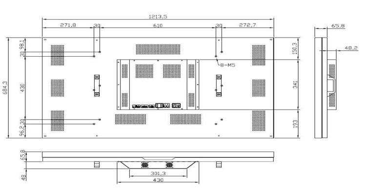 55寸/拼缝3.9/高亮 超窄边液晶拼接屏(700cd/m2)