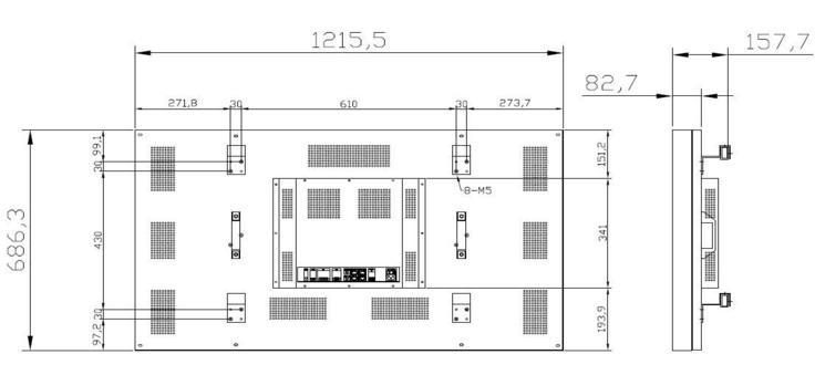 55寸/拼缝5.5/低亮 超窄边液晶拼接屏(450cd/m2)