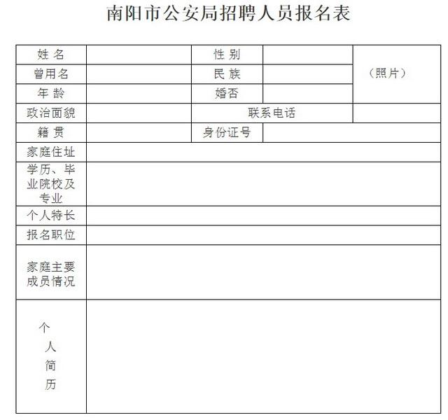 南阳市公安局招聘公告
