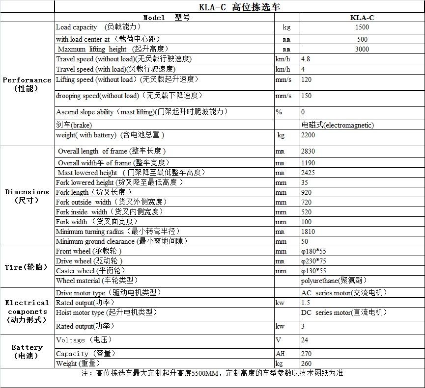 KLA-C型 高位拣选车