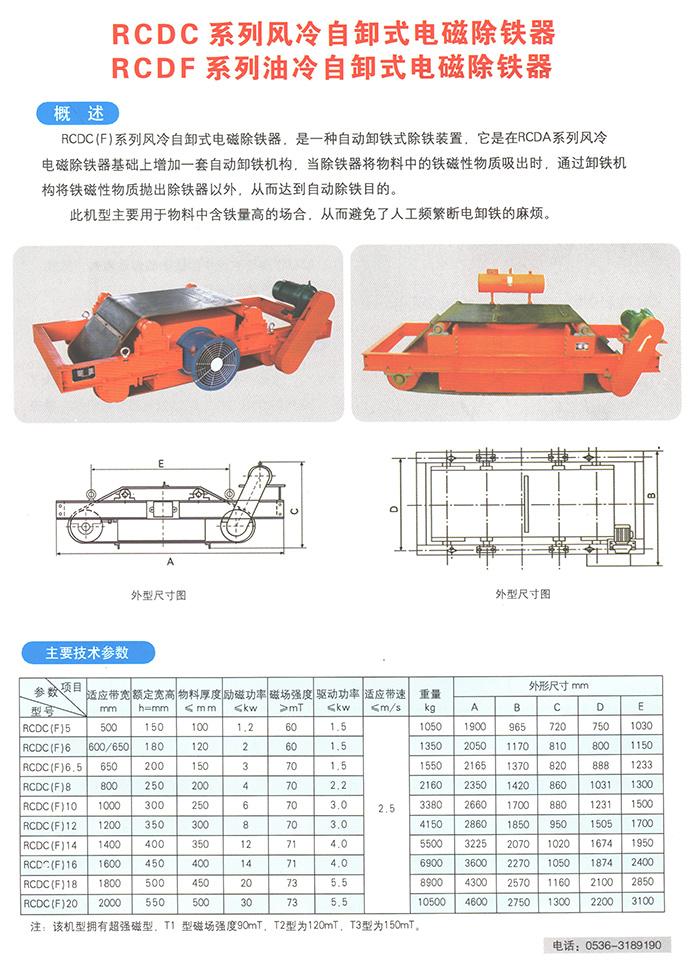 RCDC系列风冷自卸式电磁除铁器/RCDF系列油冷自卸式电磁除铁器