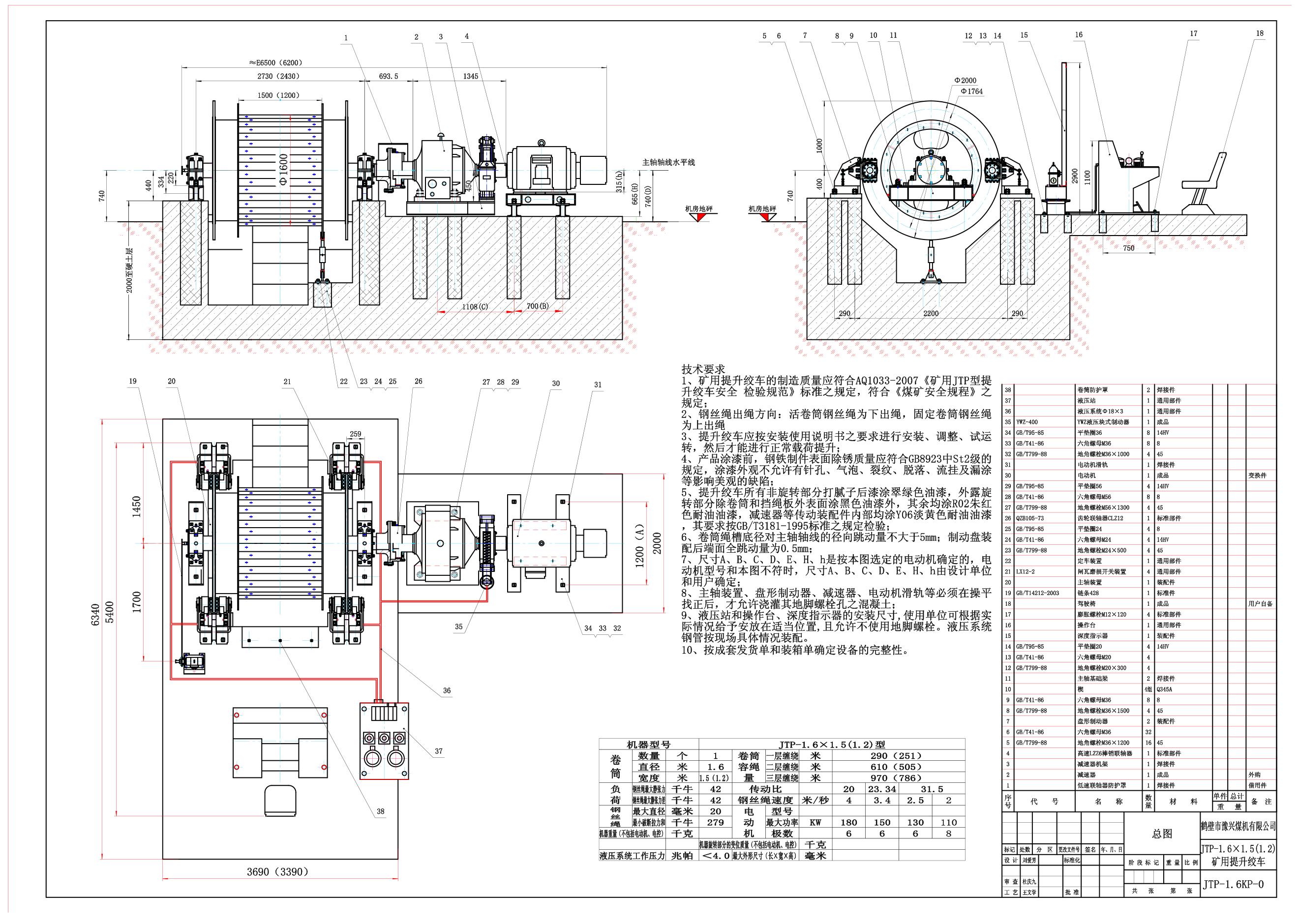 JTP1.6x1.5P型矿用提升绞车