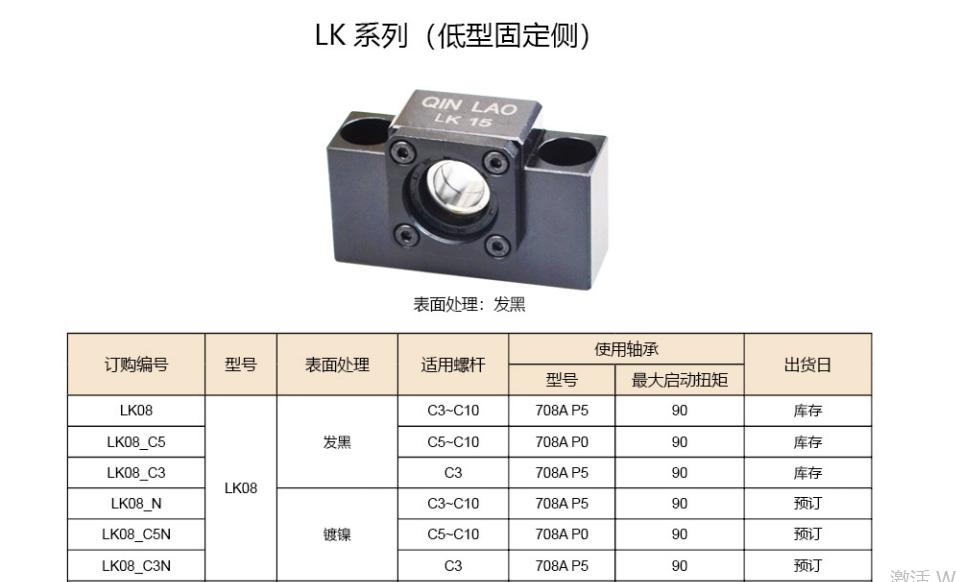 LK系列滾珠絲杠支撐座(低型固定型)