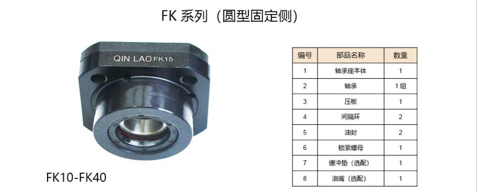 FK系列滾珠絲杠支撐座(圓型固定側)