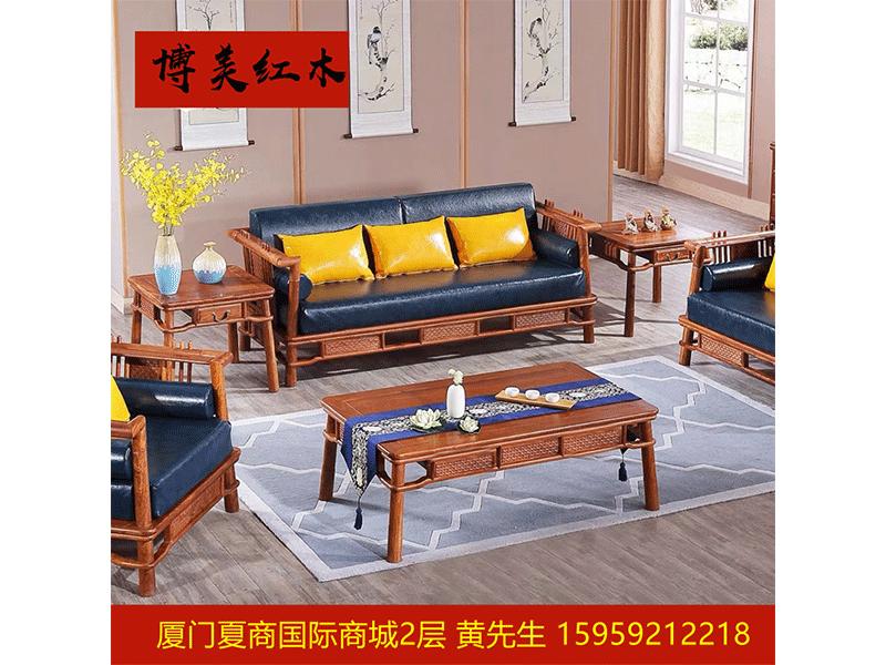 刺猬紫檀新中式沙發6件套