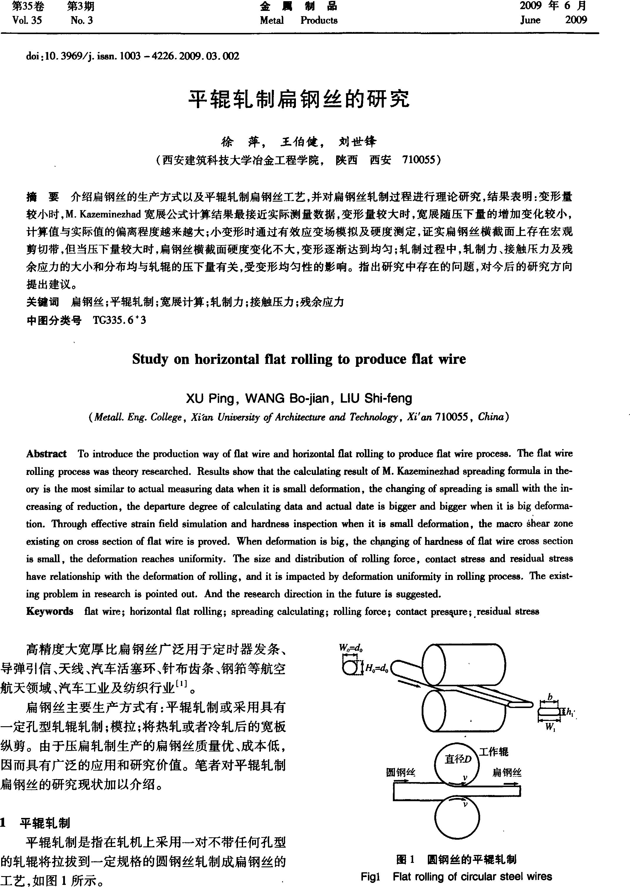 平辊轧制扁钢丝