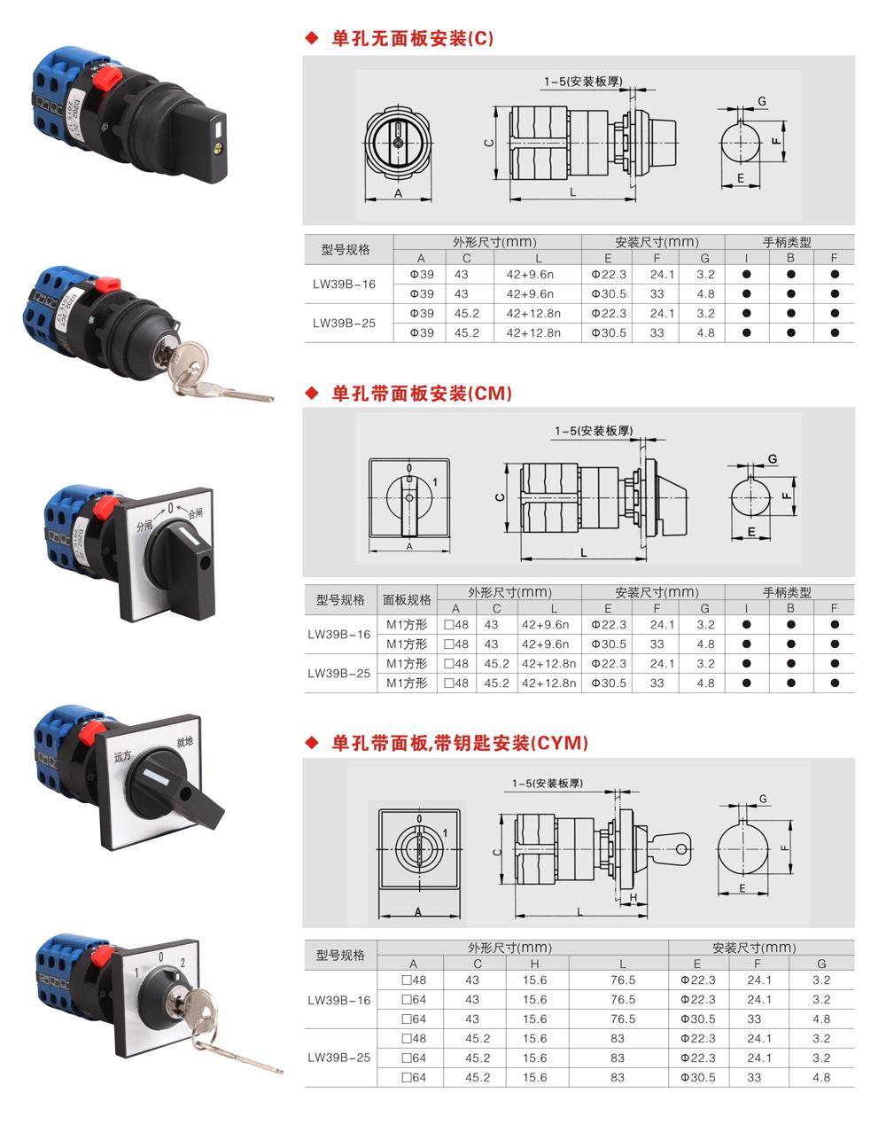 单孔安装复位型LW39B-164Q4.4.2C