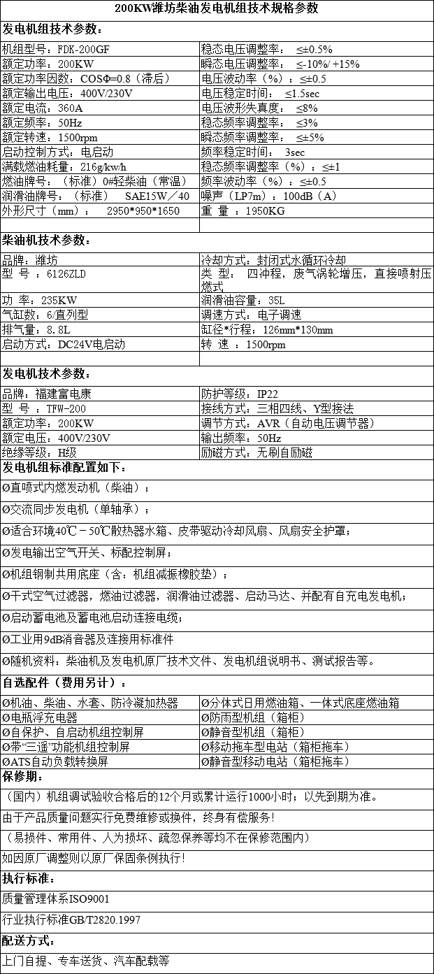 fj潍坊柴油发电机组