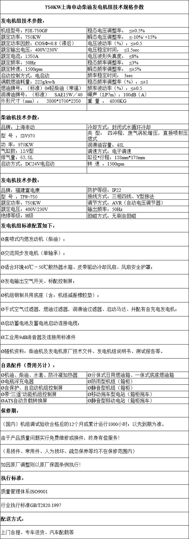 福建上海申动柴油发电机组