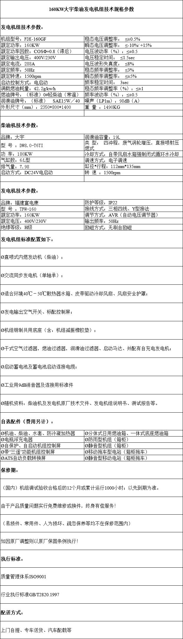 160KW大宇柴油发电机组