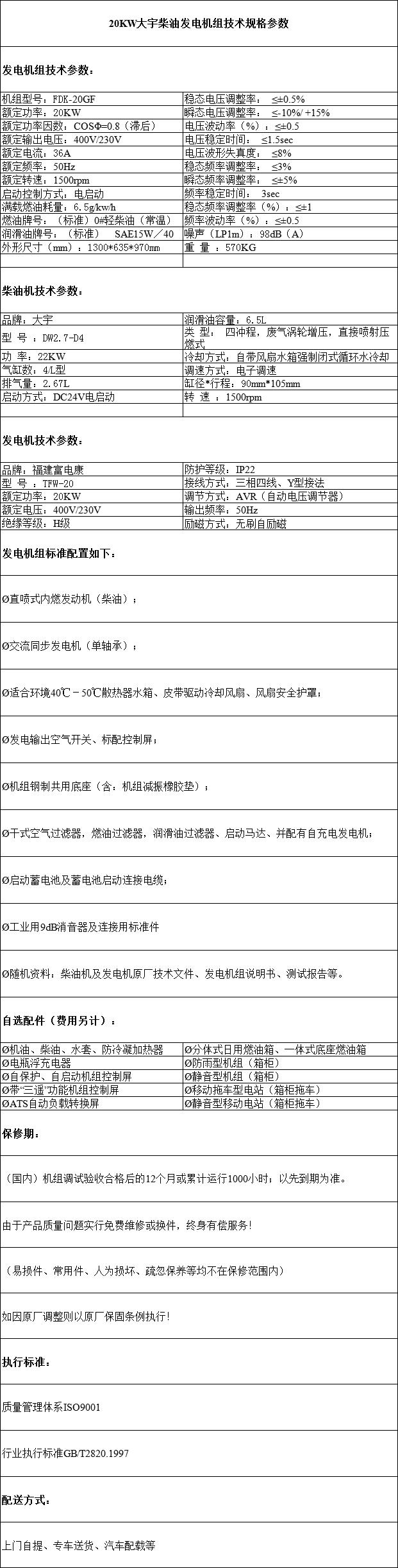 20KW大宇柴油发电机组