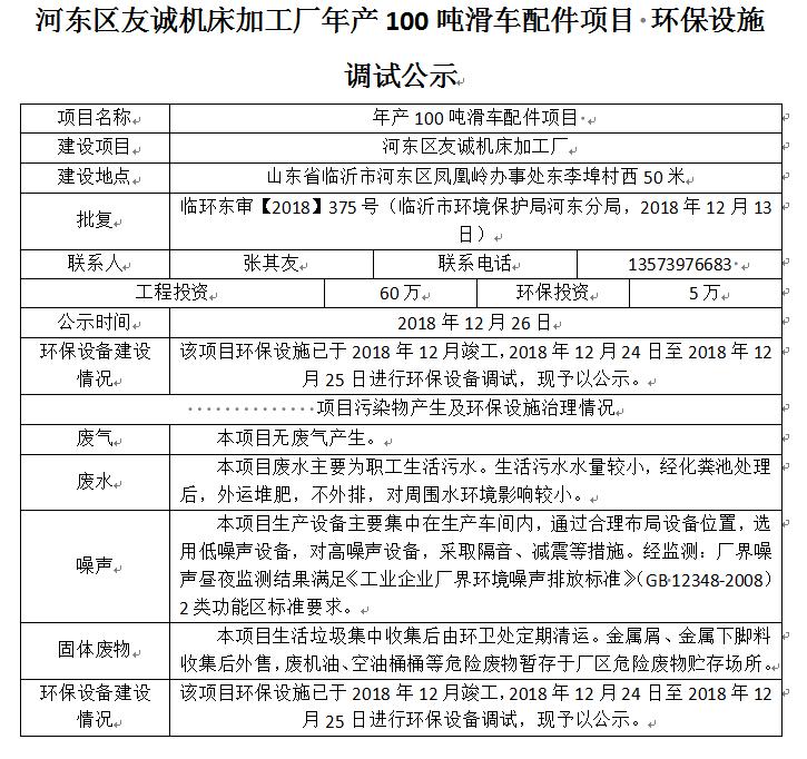河东区友诚机床加工厂年产100吨滑车配件项目 环保设施调试公示