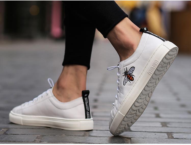 头层蜜蜂小白鞋