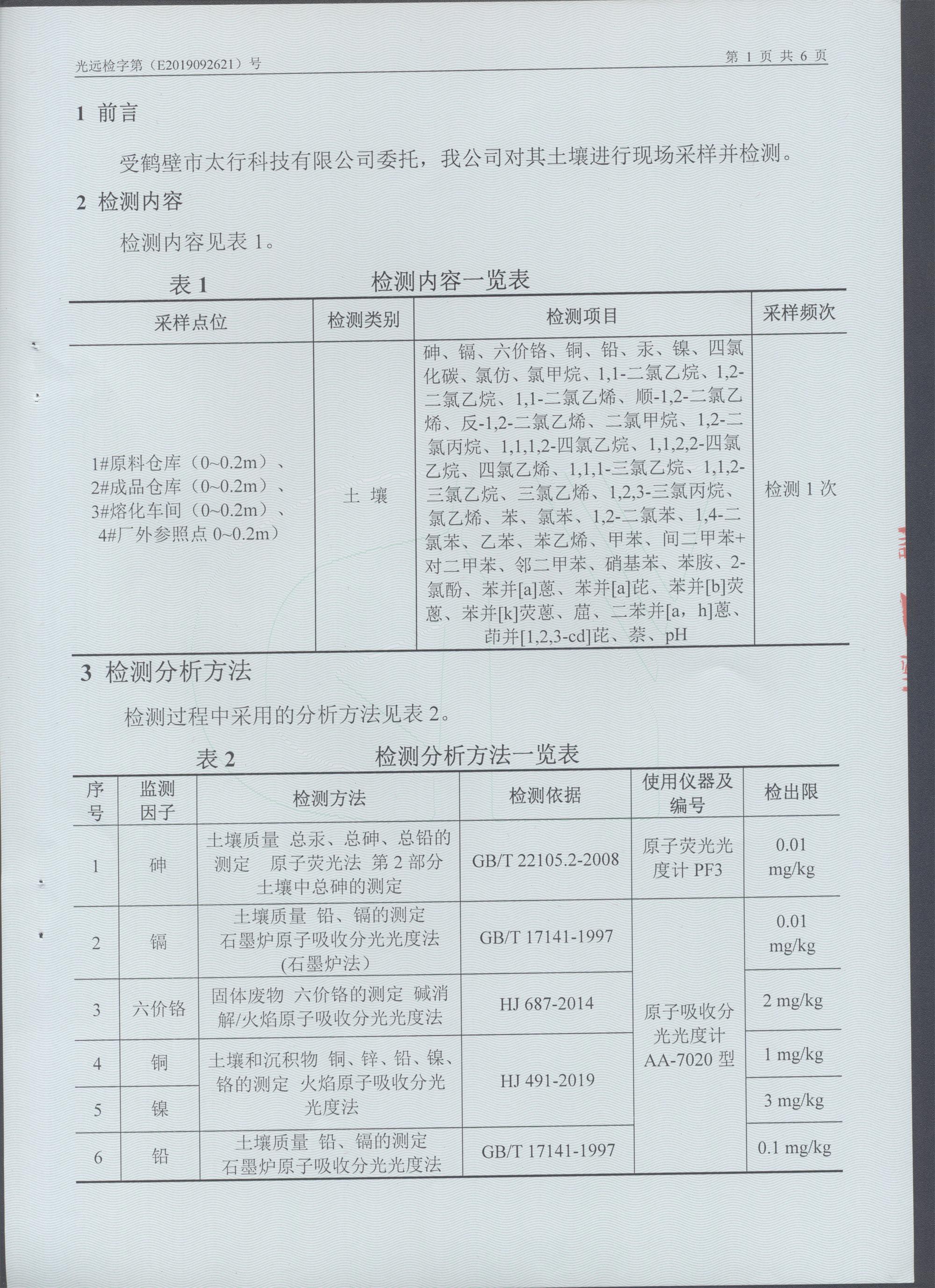 鶴壁市太行科技有限公司土壤檢測報告公示