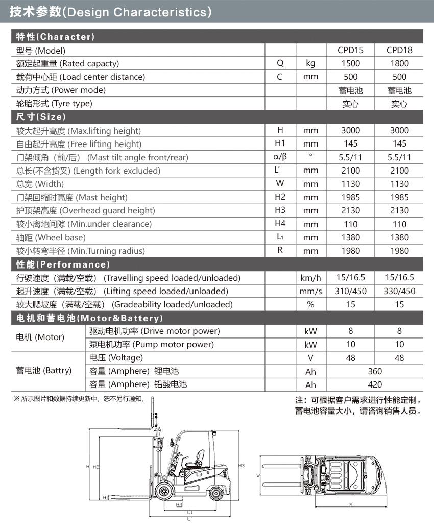 CPD18蓄電池平衡重式叉車
