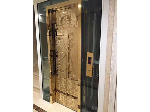玫瑰金蚀刻不锈钢别墅电梯
