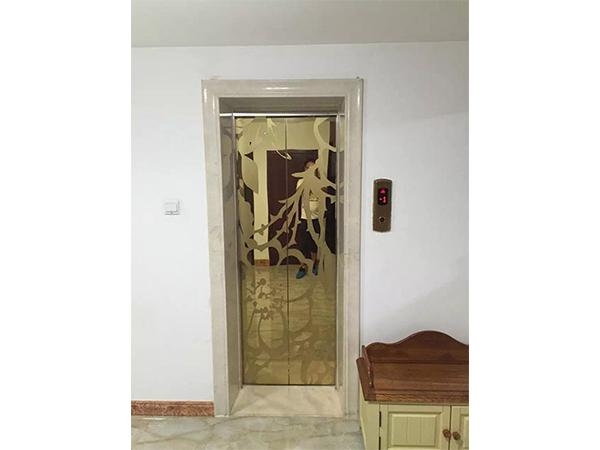 钛金蚀刻不锈钢别墅电梯