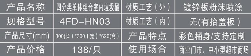 四分类单体组合室内垃圾桶HN03