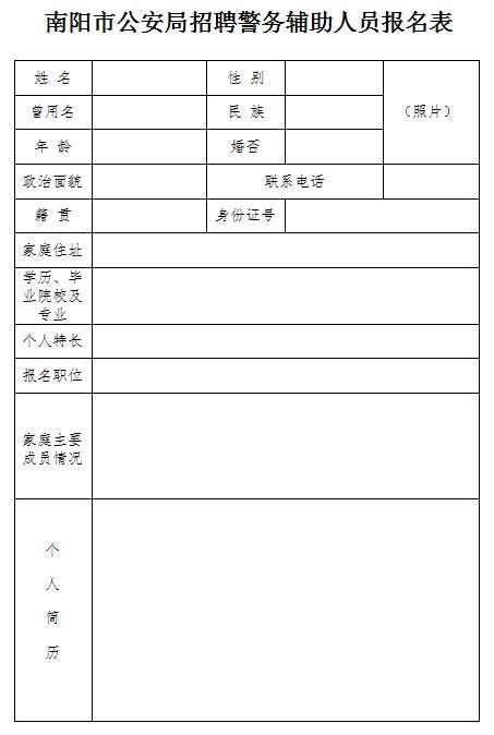 南阳市公安局招聘警务辅助人员公告