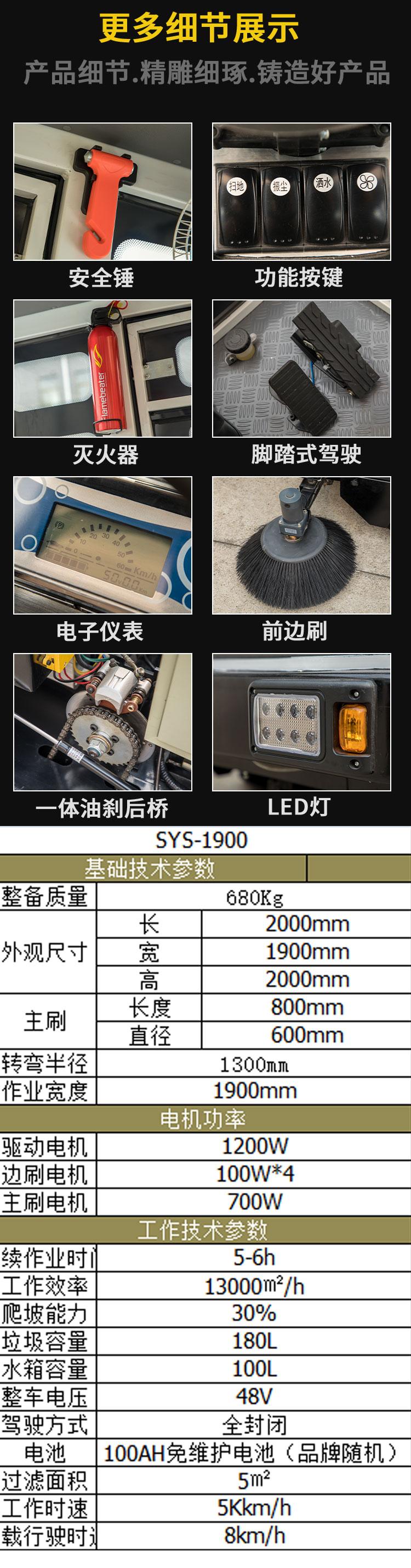 尚勇SYS-1900全封闭一体驾驶式扫地车