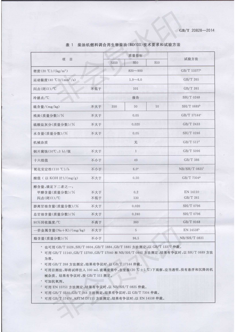 GBT20828-2014_柴油机燃料调合用生物柴油BD100