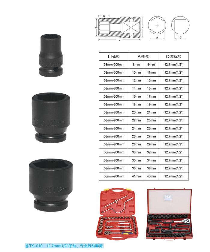 """TX-010 12.7mm(1/2"""")手动风动套装"""