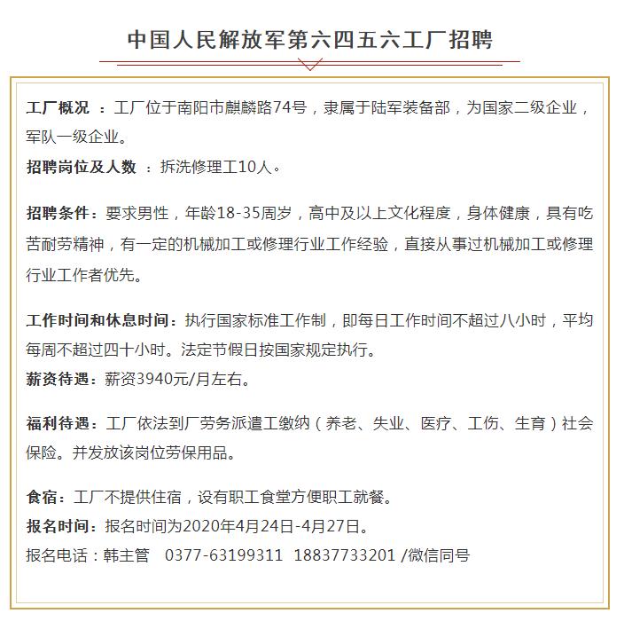 中国人民解放军第六四五六工厂招聘