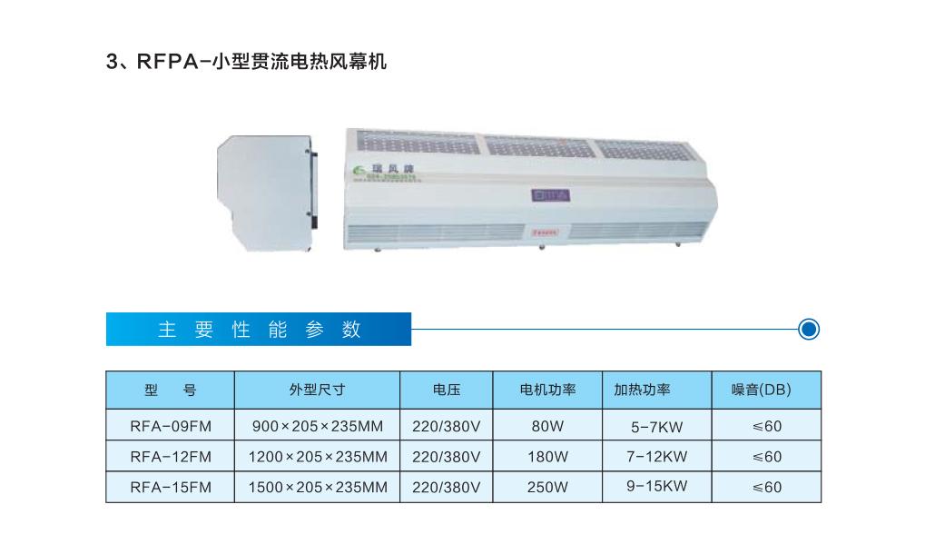 小型贯流电热风幕机
