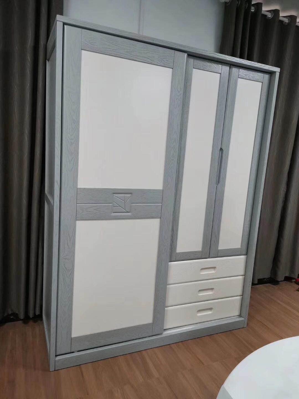 實木壓紋衣柜