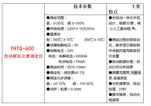 YHTQ-600一體化自動碳氫元素測定儀
