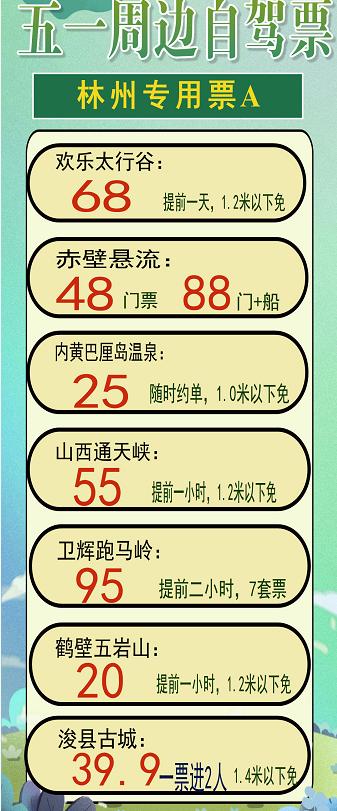 林州五一自驾游门票推荐