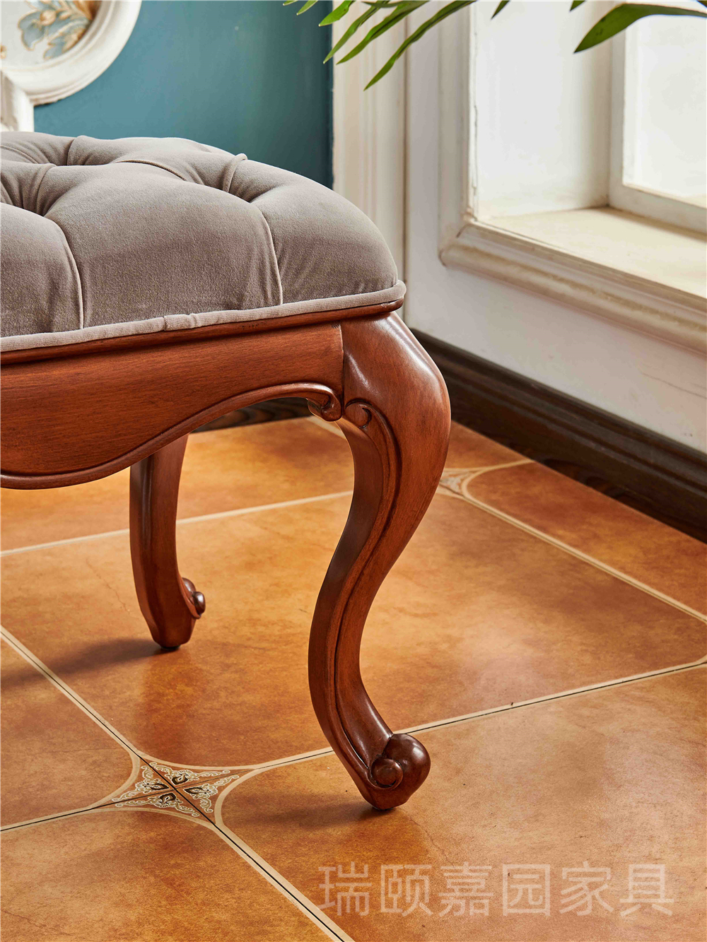 奢华美式床尾凳