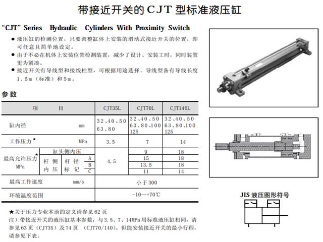 帶接近開關的CJT型標準液壓缸