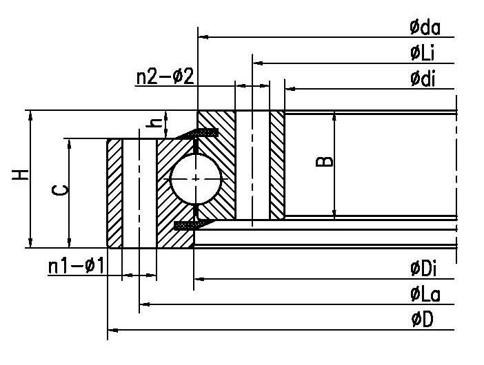 輕型四點接觸球軸承轉盤(不帶齒)