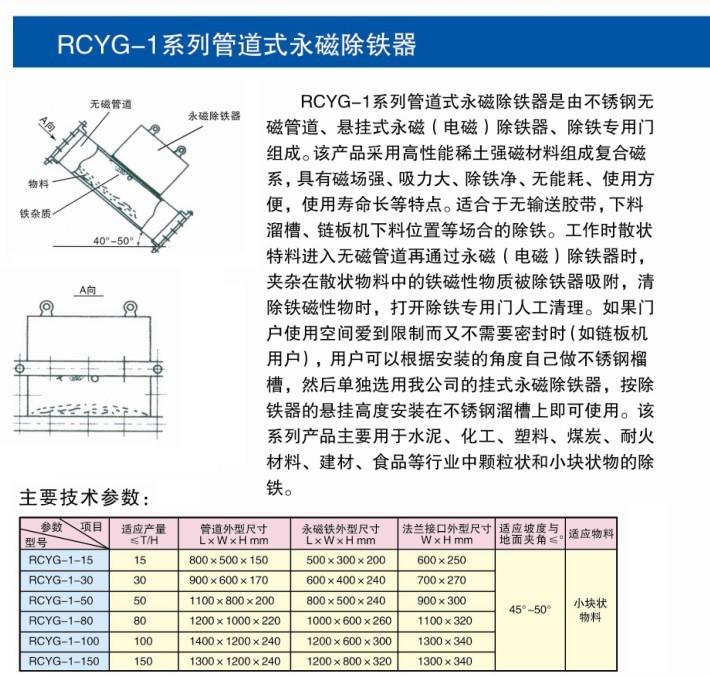 RCYG-1系列管道式永磁除铁器